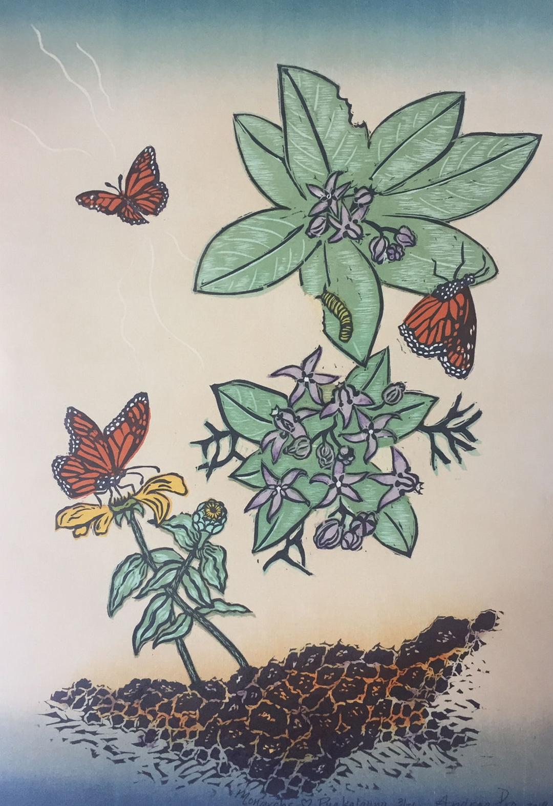 Monarchs Love Pua Kalaunu painting of Monarch butterflies and Pua Kalaunu