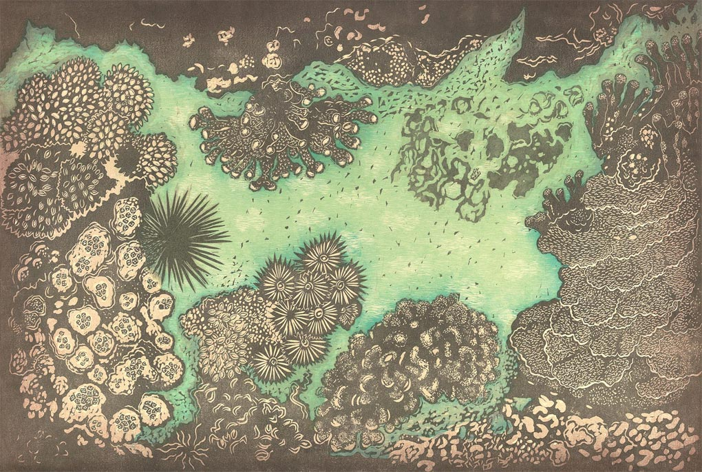 Coral Garden Hawaii woodcut by artist Andrea Pro